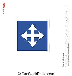 Vector four arrows icon - Blue photo Frame