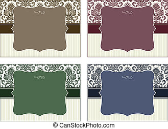Vector Four Piece Damask Frame Set