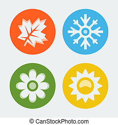 Vector four seasons icons set