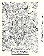 vector, fráncfort, ciudad, detallado, mapa, cartel