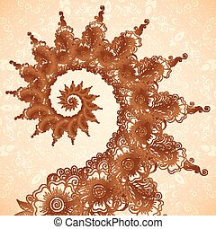 Vector fractal spiral in henna tattoo style