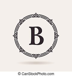 Vector frame calligraphic design emblem. Vintage labels and badges