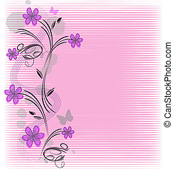 vector frame flowers - Abstract frame with pink flowers