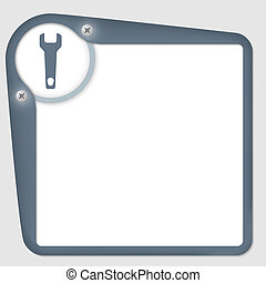 vector frame for text with screws and spanner