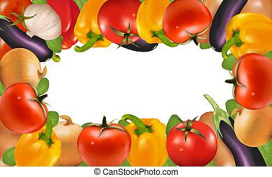 vector, frame, gemaakt, vegetables., illustration.