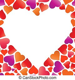 Vector frame heart for text isolated on white background.