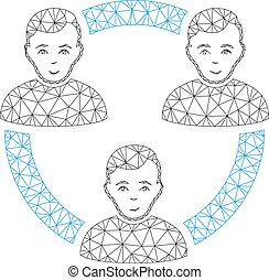 vector, frame, illustratie, polygonal, maas, samenhangend, leden, sociaal