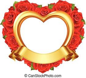 vector, frame, in, de, vorm, van, hart, met, rode rozen, en, gouden, ribbon.