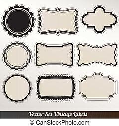 Vector Frame labels Set ornamental vintage decoration
