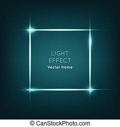 Vector Frame. Light Effect on Dark Blue Background