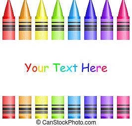 vector, frame, met, kleurrijke, crayons