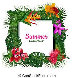 vector, frame, met, plek, voor, tekst, omringde, met, tropische , palm loof, en, exotische bloem
