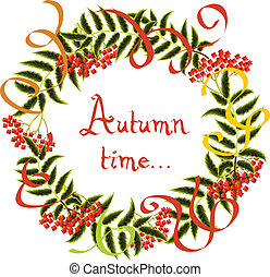 Vector Frame of autumn leaves and rowan berries on a white background