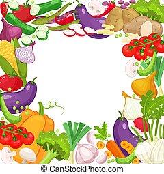 Vector frame of fresh vegetables for your design. Raw...