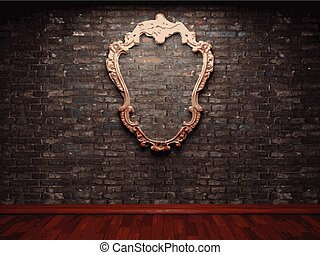 vector frame on brick wall