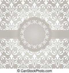 Vector Frame on Seamless Vintage Wallpaper Pattern