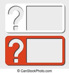 vector, frame, papier, vraagteken