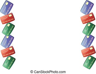 Vector frame - red, blue, green bank card in the left and in the right