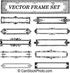 vector, frame, set, ornament, retro