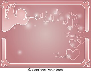 Vector frame with an angel and hearts.