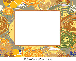 Vector frame with circles and flowe
