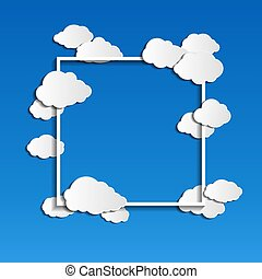 vector frame with clouds on blue background with place for text