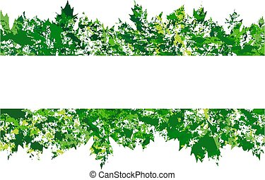 vector frame with colored summer leaves in grunge style