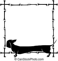 frame with dachshund