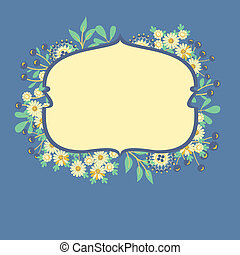 vector frame with flowers and berries