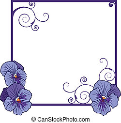 violet pansies - vector frame with flowers of violet pansies...