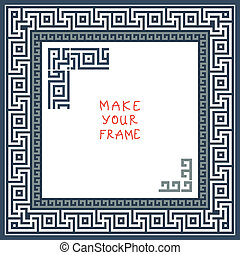 vector Frame with Greek ornament (Meander) - Frame with ...