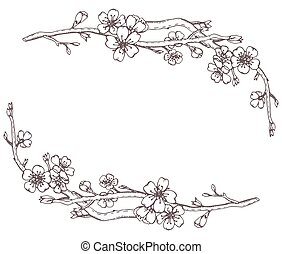 Vector frame with hand drawn graphic branches of a blossoming ch