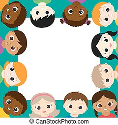 Vector frame with happy boys and girls