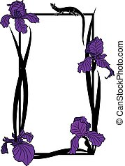 vector frame with irises and lizard