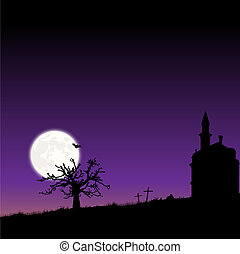 Vector frame with moon night Halloween landscape