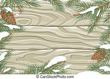 Vector Frame with Pine Tree Brunches and Cones