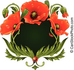 Vector frame with red poppies