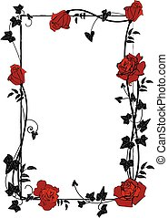 frame with roses, ivy and butterflies