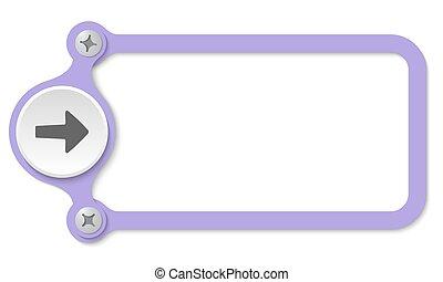 vector frame with screws and arrow