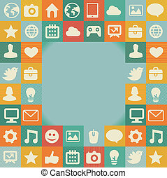 Vector frame with social media icons - abstract background...
