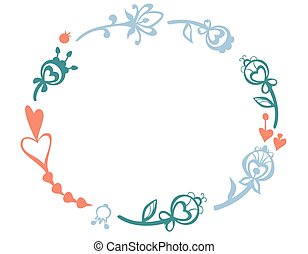 vector frame wreath flowers