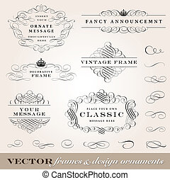 Vector Frames and Design Ornaments Set. Easy to edit....