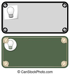 Vector frames for your text with screws and bulb