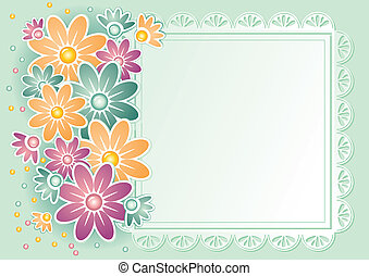Vector framework for a photo or invitations. Delicate flowers and lace.