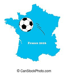 Vector france map with football/soccer ball