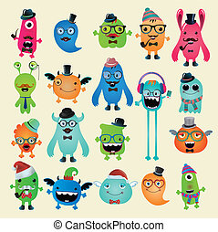 Vector Freaky Hipster Monsters Set, Funny Illustration....