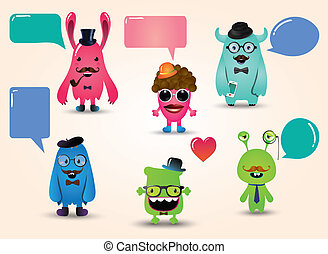 vector, freaky, set, hipster, monsters
