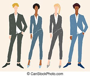Vector freehand drawing of young business people in classic suits