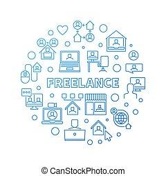 Vector Freelance concept round blue line illustration