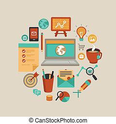 vector, freelance, werken, concept